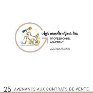 AVENANTS avec CERTIFICAT VÉTÉRINAIRE obligatoire – Liasse de 25