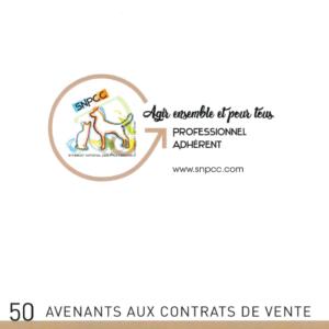 AVENANTS avec CERTIFICAT VÉTÉRINAIRE obligatoire – Liasse de 50