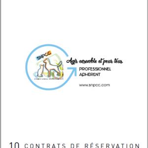 Carnet de CONTRATS DE RÉSERVATION CHIOTS-CHATONS par liasse de 10
