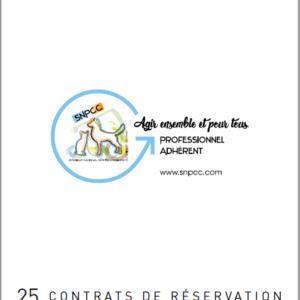 Carnet de CONTRATS DE RÉSERVATION CHIOTS-CHATONS par liasse de 25
