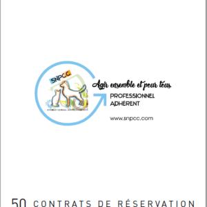 Carnet de CONTRATS DE RÉSERVATION CHIOTS-CHATONS par liasse de 50 – Chien