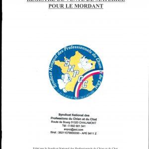 REGISTRE DE VENTE DE MATÉRIEL POUR LE MORDANT