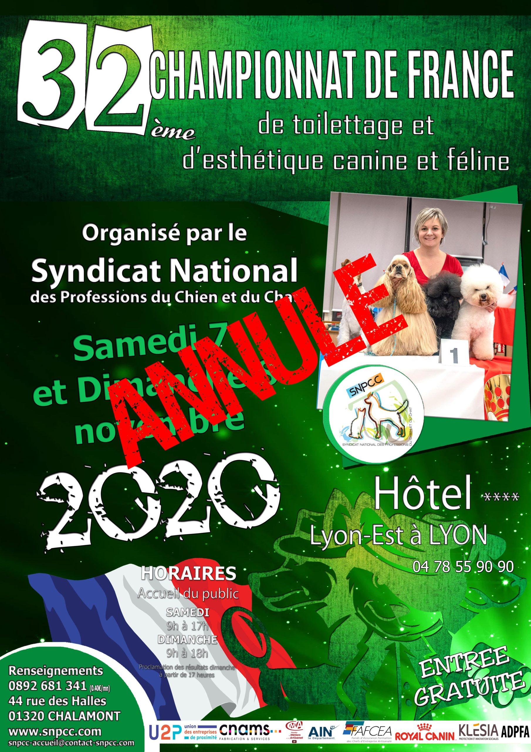 Annulation du Championnat de France de Toilettage et d'Esthétique canine et féline 2020